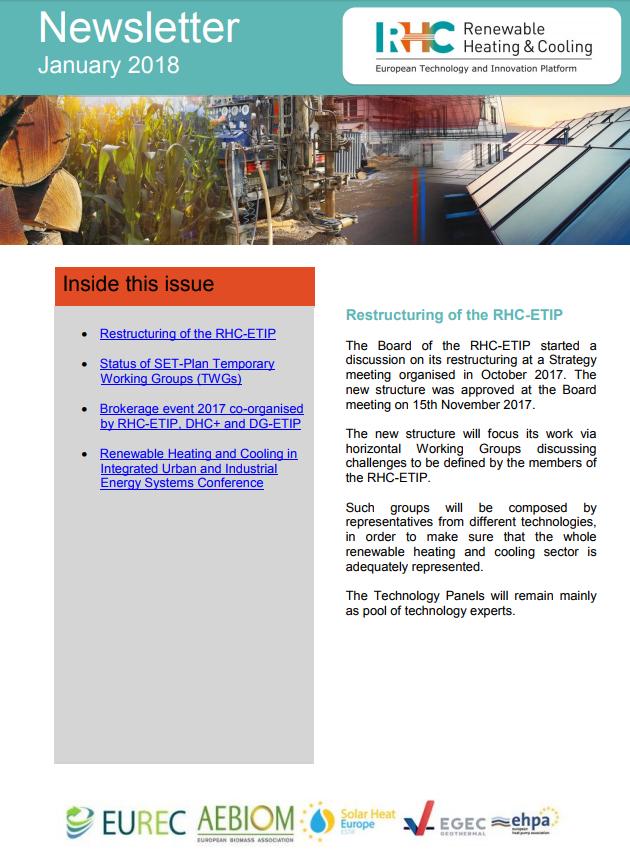Ya está disponible la última Newsletter de RHC-ETIP-Enero 2018