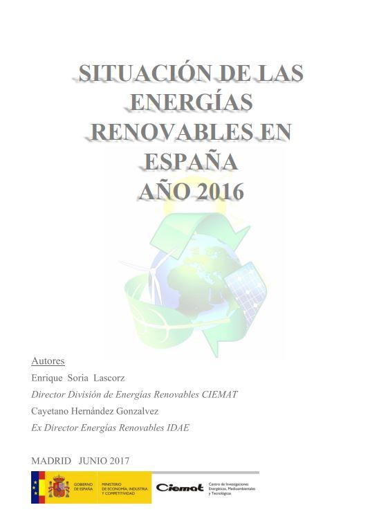 SITUACIÓN DE LAS ENERGÍAS RENOVABLES EN ESPAÑA AÑO 2016