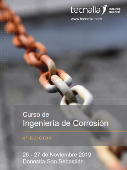 TECNALIA, miembro premium de BIOPLAT, organiza la 4ª edición del Curso de Ingeniería de Corrosión (San Sebastián, 26 y 27 de noviembre 2019)
