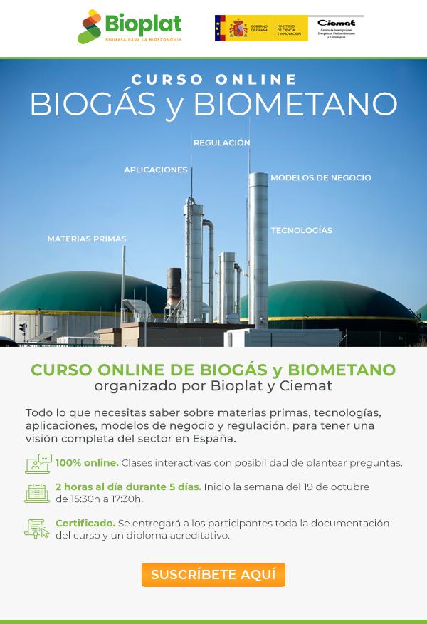 BIOPLAT y CIEMAT organizan un completo curso online sobre BIOGÁS y BIOMETANO (del 19 al 23 de octubre de 2020)