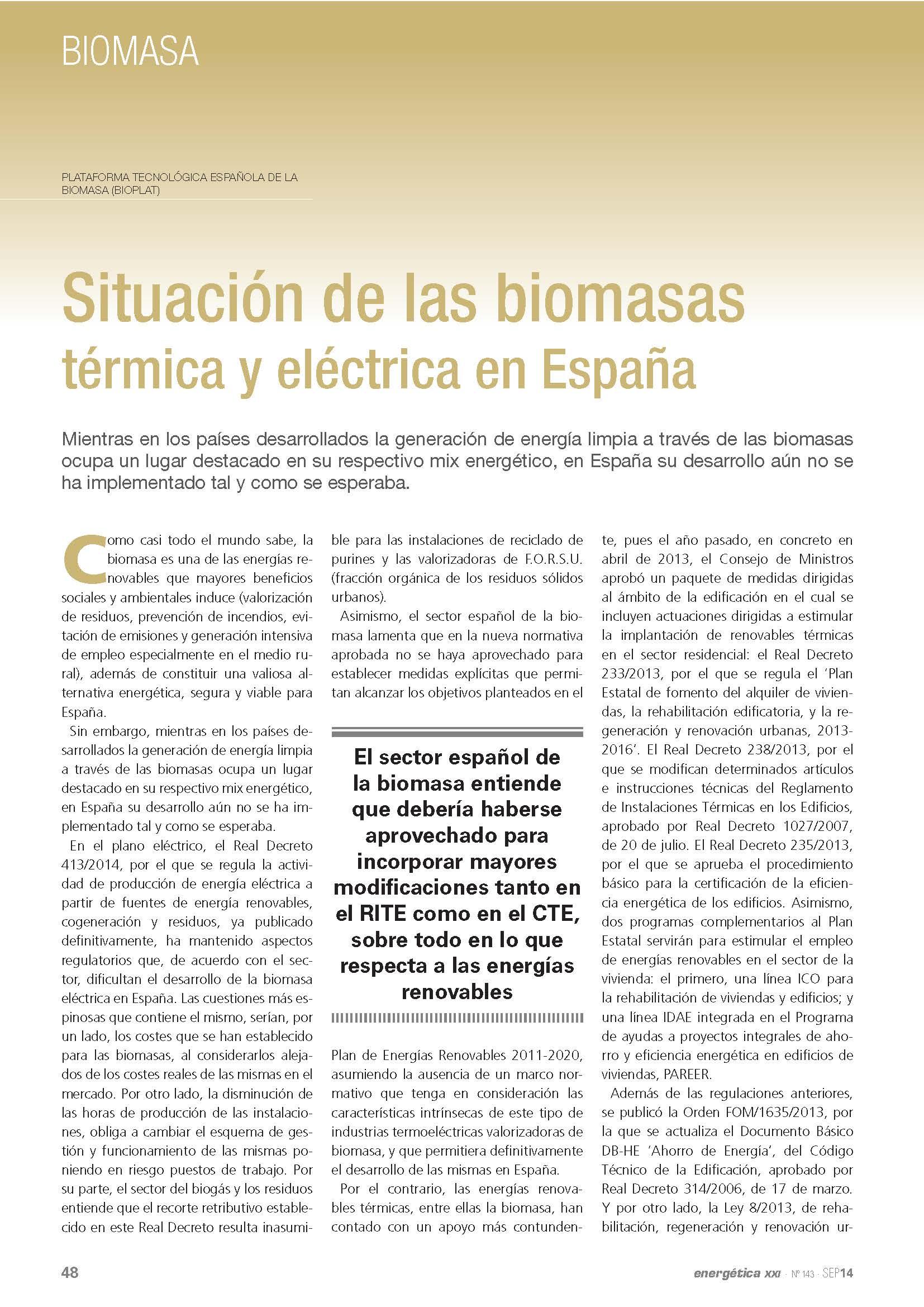 (Español) Situación de las biomasas térmica y eléctrica en España