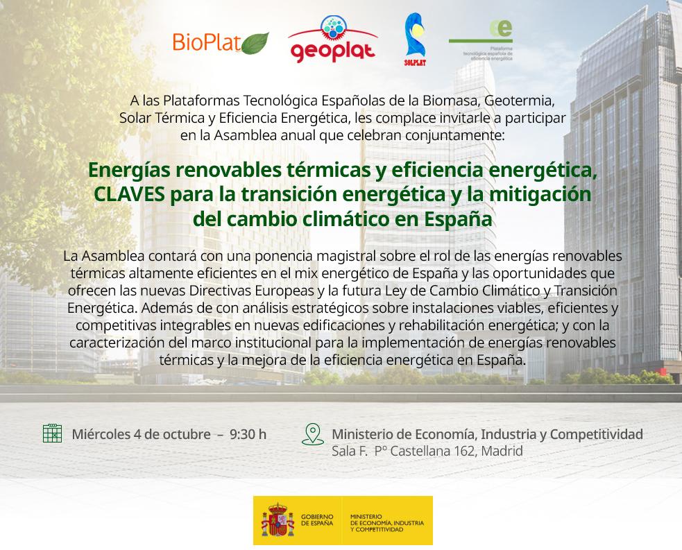 4 OCTUBRE: Asamblea anual de BIOPLAT, GEOPLAT, SOLPLAT y PTEee (Madrid)