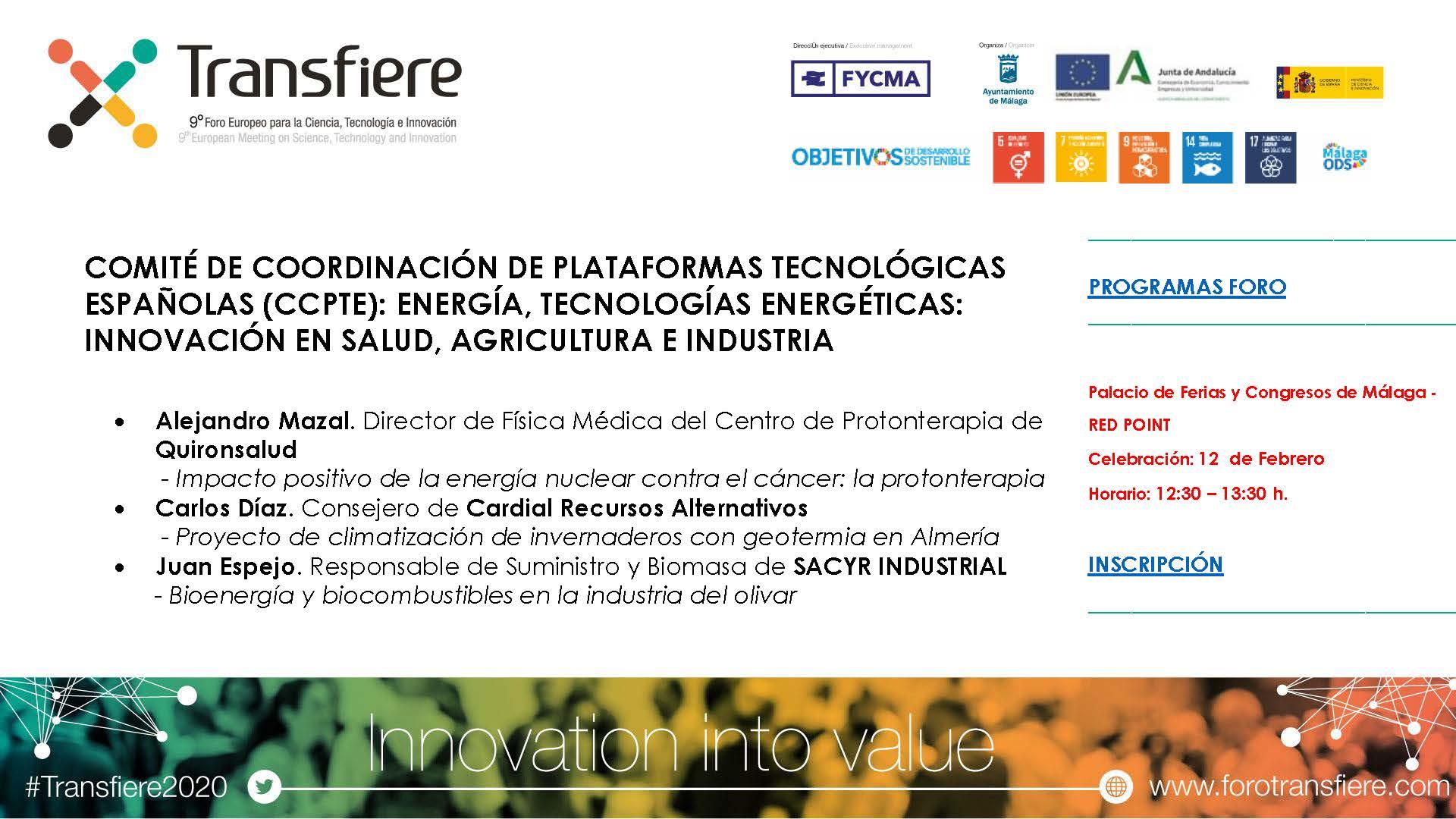 Tecnologías energéticas: innovación en salud, agricultura e industria (Málaga, 12 feb 2020)