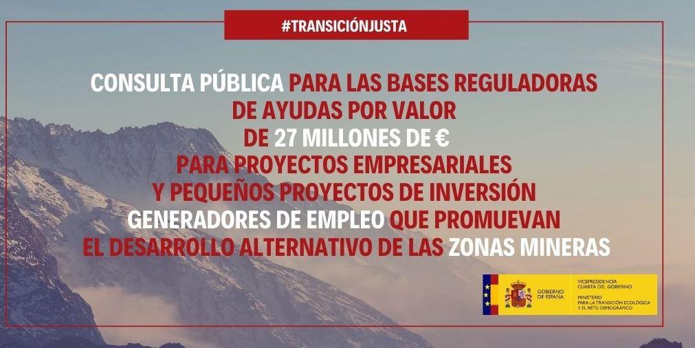(Español) El Instituto de Transición Justa destinará 27 millones de euros a financiar proyectos generadores de empleo y desarrollo económico en zonas mineras