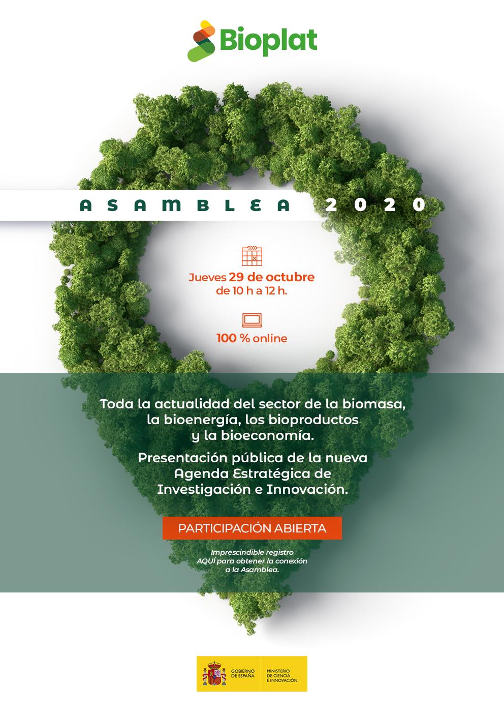 (Español) SAVE THE DATE: ASAMBLEA 2020 BIOPLAT (29 OCTUBRE | 10H | ONLINE)