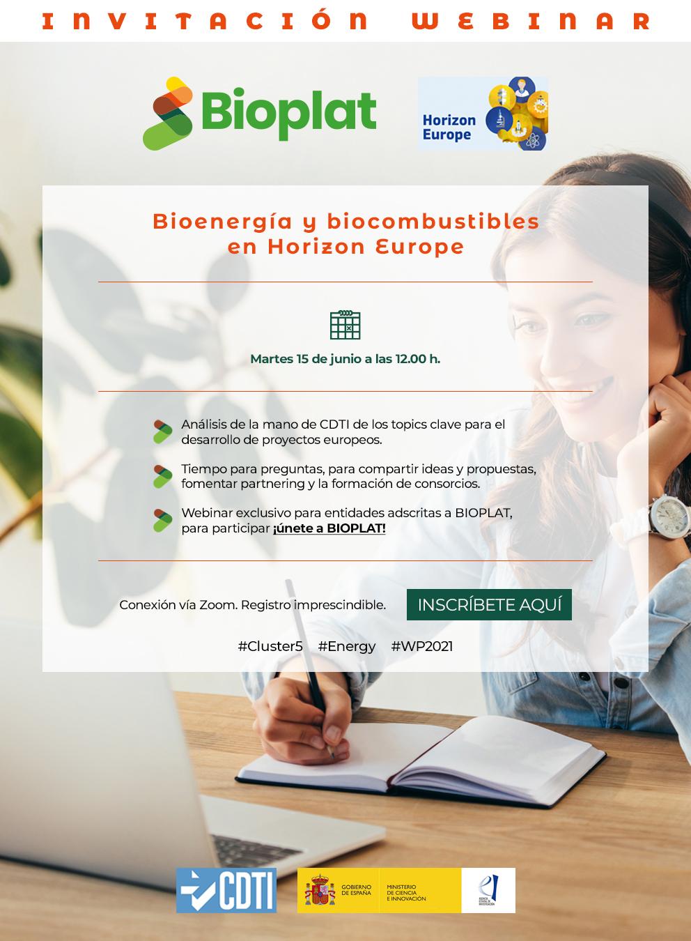 Webinar BIOPLAT / CDTI 'Bioenergía y biocombustibles en Horizon Europe' (15 junio, 12h)