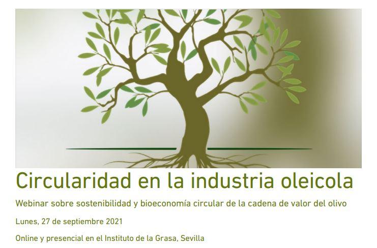 Circularity in the Olive Industry  (27 September 2021, 08:30–17:00 CEST) Online & Instituto de la Grasa, Sevilla (Spain)